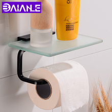 Toilet Paper Holder with Shelf Glass Bathroom Tissue Roll Aluminum Black Towel Decorative Wall Mounted