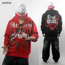 Europe And The United States Men Hiphop Death Skull Loose Hoodies Fleece Cardigan Zipper Coat Hi-street Hoodies Fear Of God