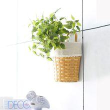 1pc 5 Twigs Artificial Decoration Vivid Vine Rattan Leaf Garland Hanging Rattan Plant For Home Garden Party Decor