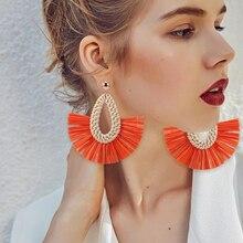 HOCOLE Tassel Earrings bohemian Handmade Lafite Drop For Women Raffia Straw Fashion Jewelry Female 2019 New