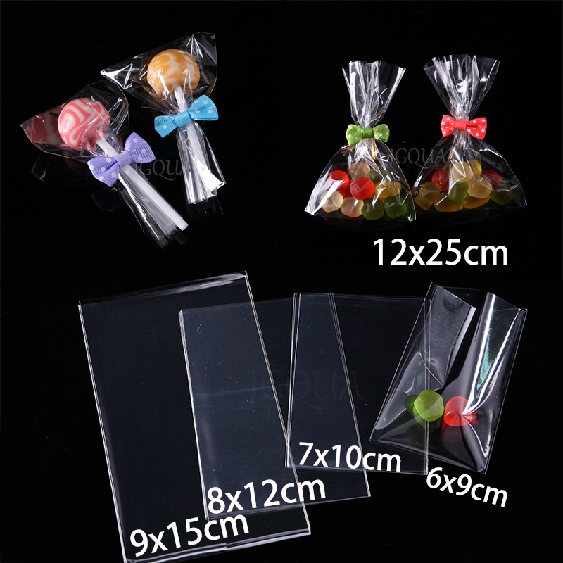 Transparent Flat Open Top Small Plastic Bags Candy Lollipop Packaging Cellophane Cello Bag Wedding Party Decorations Gift Bags ...