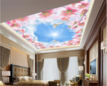 beibehang Custom beautiful fashion wall paper romantic sky flower blue white zenith murals papel de parede 3d wallpaper