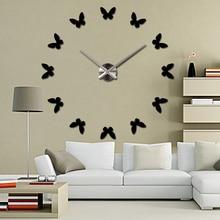 2016 New diy Wall Clock 3d Acrylic Mirror Clocks Reloj De Pared Quartz Watch Horloge Home Living Room Modern Wall Stickers