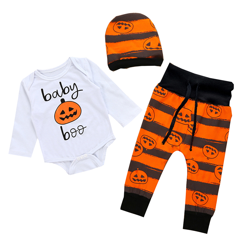 Halloween Newborn Baby Girl Boy Clothes Set Tops Pants Bodysuit Outfits 3PCS Toddler Costume Christmas Baby Boy Girl Clothing