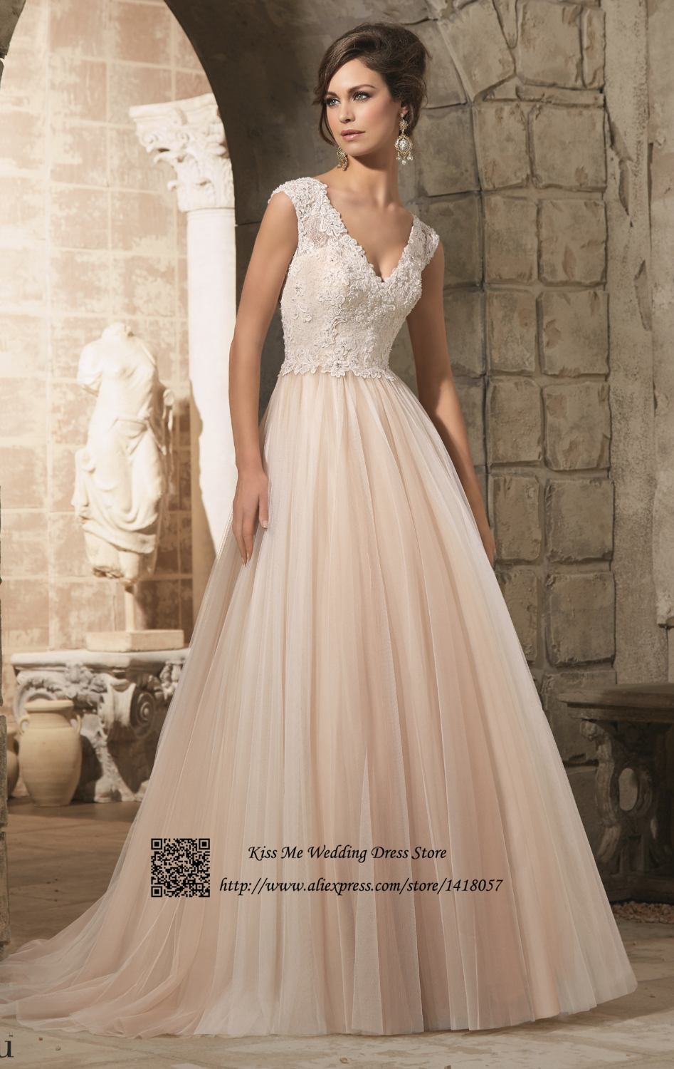 Aliexpress.com : Buy Cheap Champagne Pink Boho Wedding Dress 2015 ...