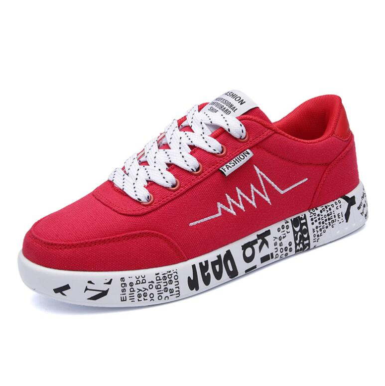 2018 Fashion Women Vulcanized Shoes Sneakers Ladies Lace-up Casual Shoes Breathable Walking Canvas Shoes Graffiti Flat