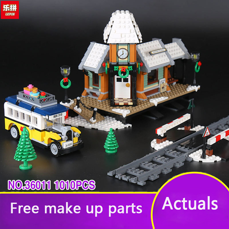 Lepin 36011 Creative Series The Winter Village Set Genuines 1010 Piece Building Blocks Bricks Educational Toys As Boy Gift LP033 lepin 36010 genuine creative series the winter village market set legoing 10235 building blocks bricks educational toys as gift
