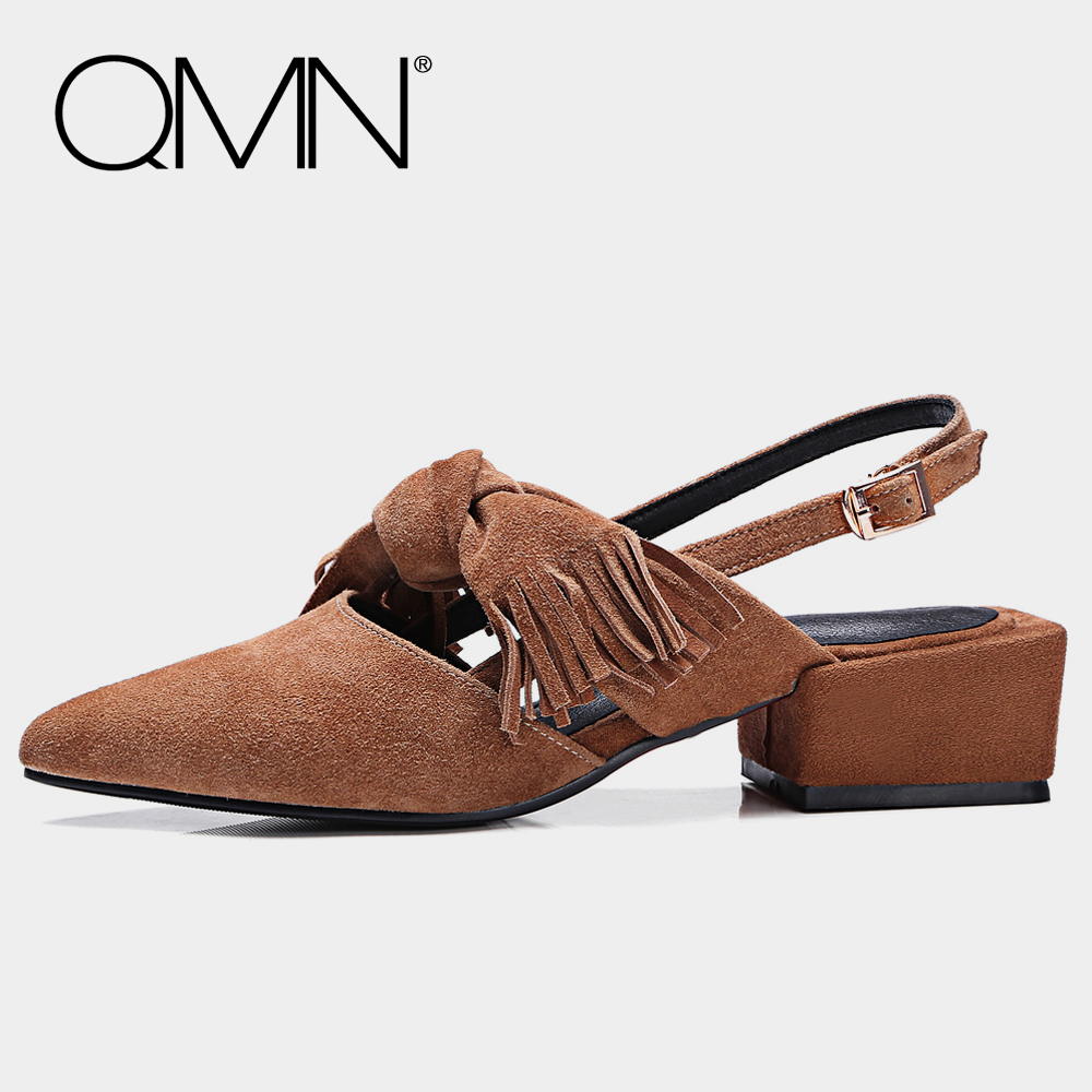 QMN genuine leather women flats for Women Knotted Natural Suede Slingbacks Slip On Summer Shoes Woman Femme Chaussures 34-41 qmn women crystal embellished natural suede brogue shoes women square toe platform oxfords shoes woman genuine leather flats