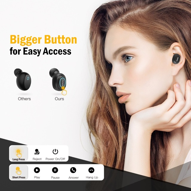 Mpow EM13 Single Bluetooth V4.1 Earphone Mini Wireless Earbud 6H Playing Time Hands-Free Call For Driver iPhone Huawei Xiaomi PC