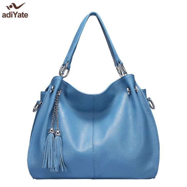 837e201ea35 ADIYATE Blue Tassel Genuine Leather Shoulder Bag Cheap Women s Handbags  Bolsa Feminina Suitcase Luxury Designer Tote O Bag