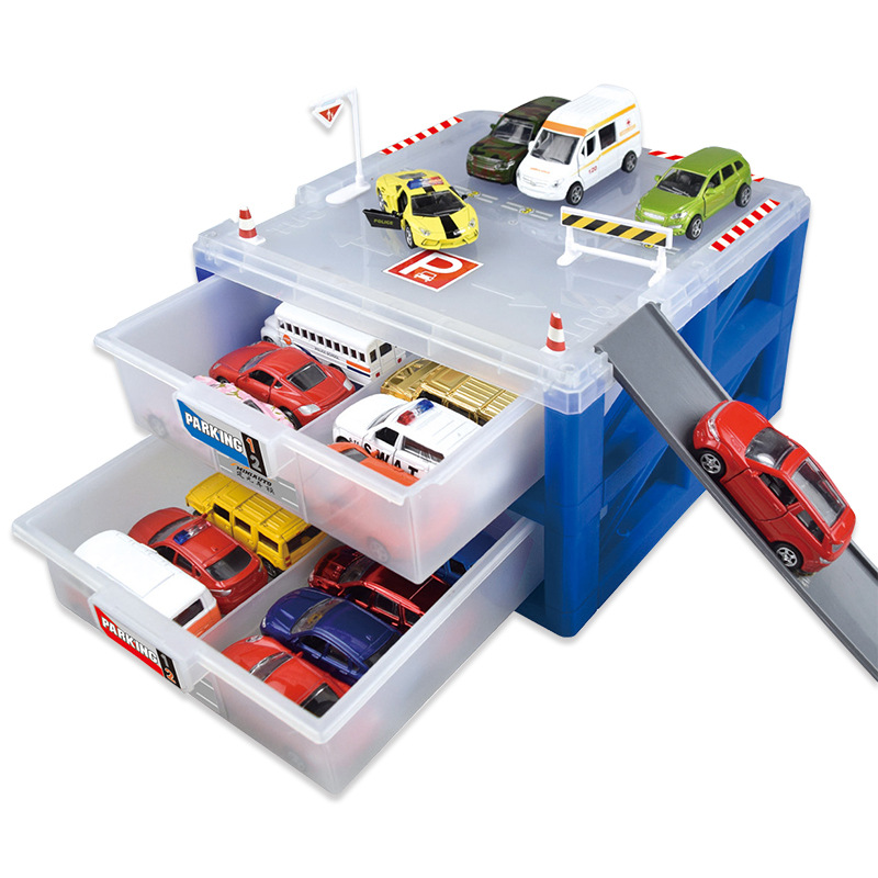 Mini Parking Lot AOLI kids toy Toy car storage box car park Scenario simulation gift Drawer Alloy car collection Fitting