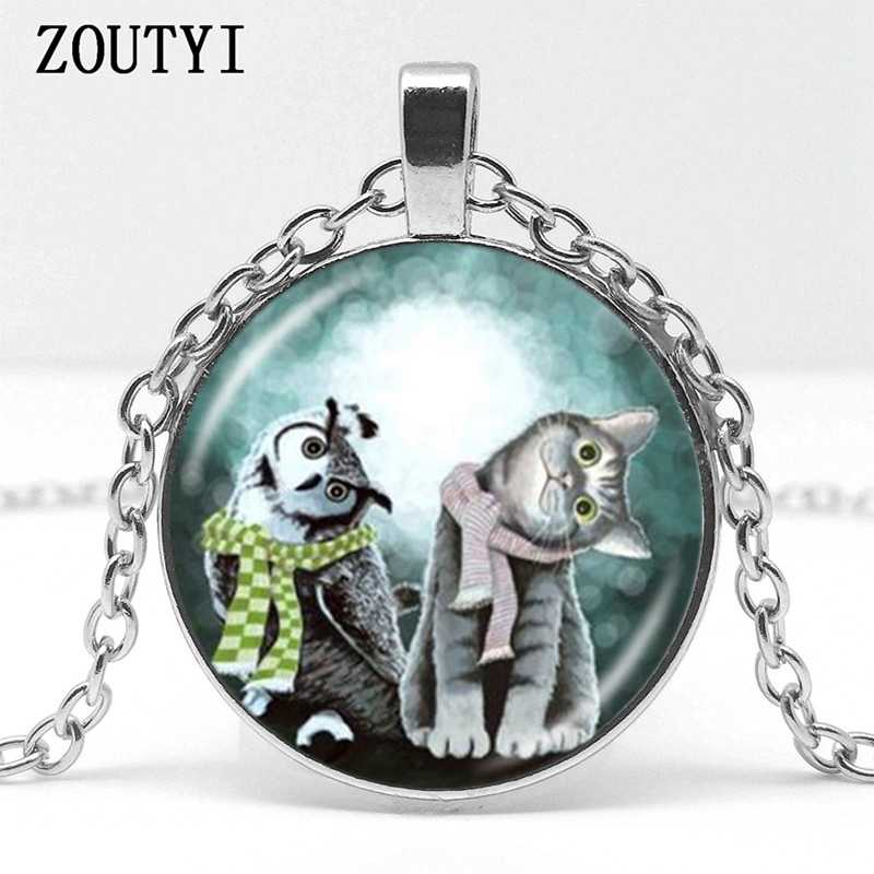 2018/ hot sale, cute owl with gray kitten cat pattern glass pendant necklace, men and women necklace jewelry.