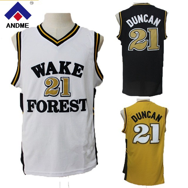 Wake Forest College 21# Tim Duncan Basketball Jerseys High Quality Throwback Jersey Free Shipping 100% Stiched Size S-XXL 44 rev 30 44 pistol pete basketball jerseys