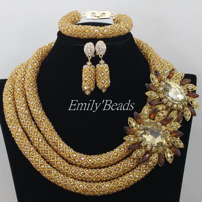 Nigerian Champange Gold African Wedding Beads Jewelry Set 2015 New Party Indian Bridal Beads Necklace Set Free Shipping AMJ831