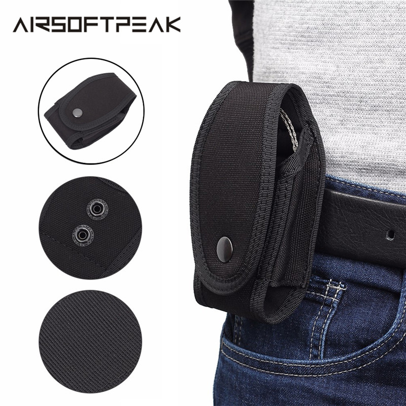 1000D Nylon Handcuffs Police Pouch Tactical Cuff Holder Button On Belt Outdoor Tool Hunting Adjustable Simulation Key Chain Bag