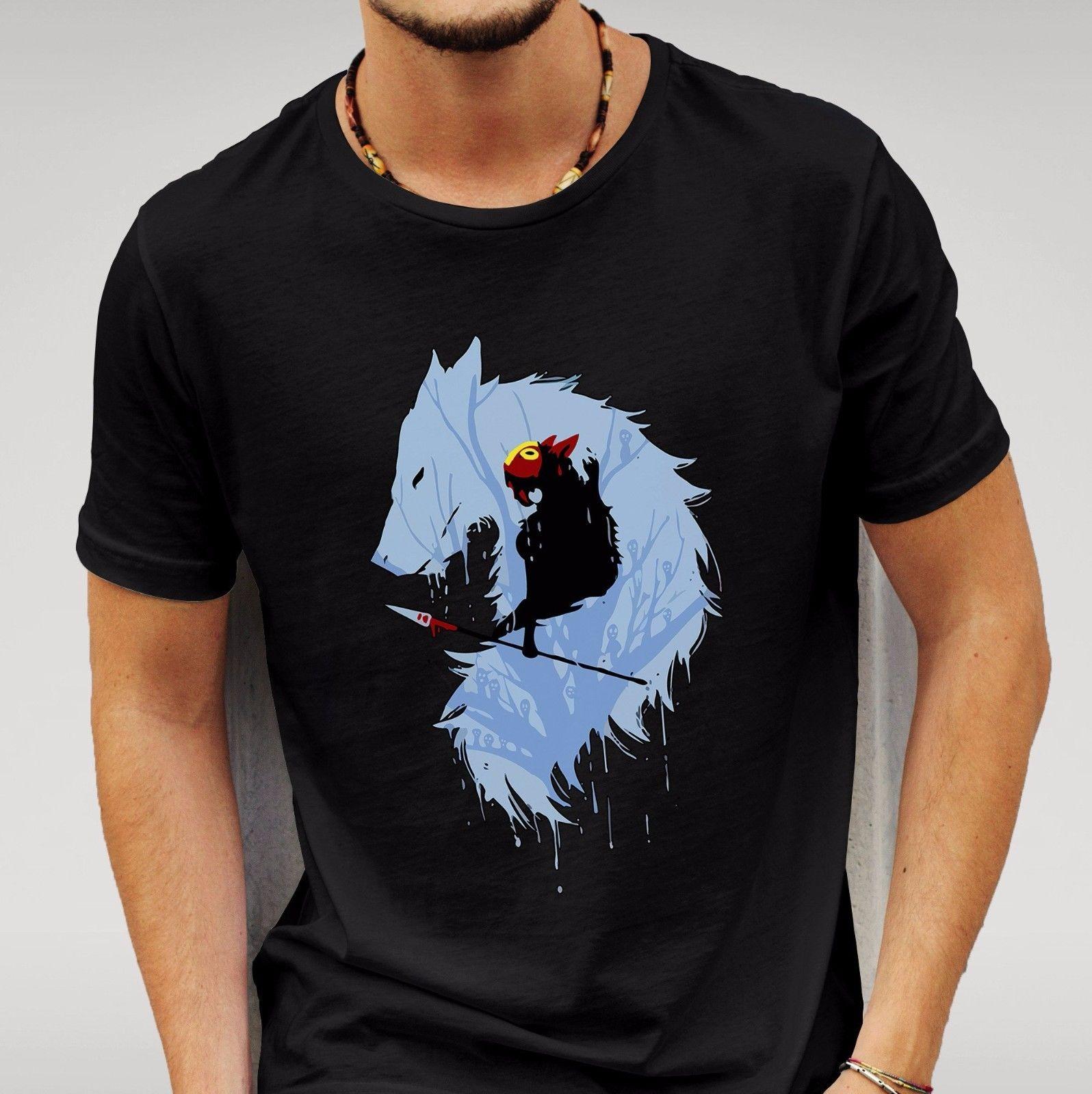 Princess Mononoke Wolf Black Tshirt Mens Womens Unisex Anime
