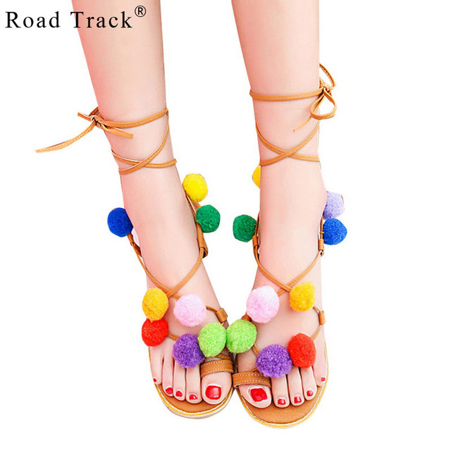 18211dc3ea6e Road Track Women Sandals Gladiator Breathable Floral Lace-Up Ankle Strap  Flat With Shoes XWA0889-5