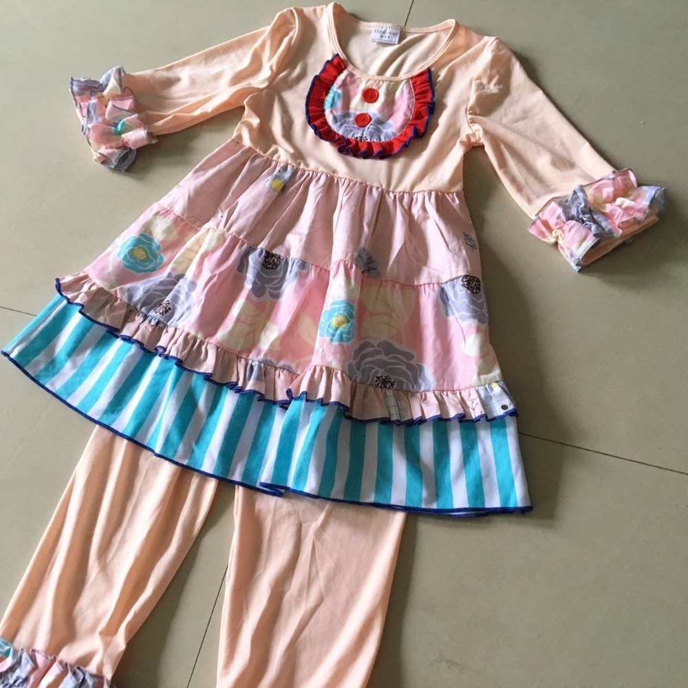 2017Hot Sale Summer and Autumn striped pattern and Ruffle cloth Baby Girls Dress with a Bib and 2 Buttons For birthday's present kids ruffle tie neck striped romper