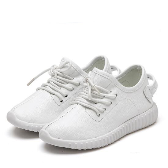 NEW Spring/Autumn Children White Sports Shoes Toddler Baby Genuine Leather Shoes Kids Boys Girls Casual Sneakers Flats 044 classic casual baby shoes toddler newborn polka dots baby girls autumn lace up first walkers sneakers shoes