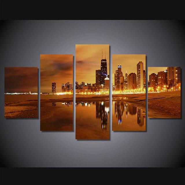 5 unids/set enmarcado HD impreso Chicago ciudad en la noche imagen ...