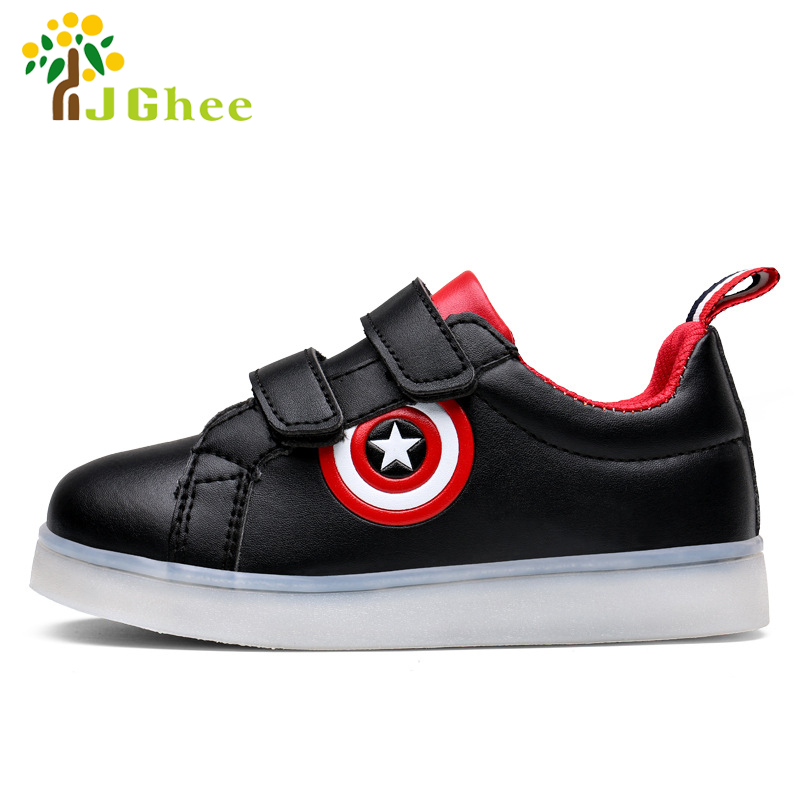 J Ghee USB Charging Kids Shoes Glowing Sneakers LED Sneakers Light Up Boys Girls Shoes Captain America Led Luminous Sneakers