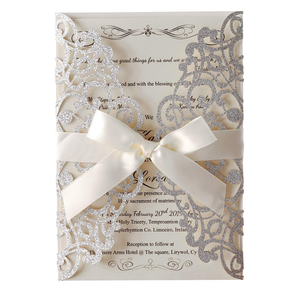 50pcs Slivery Glitter Laser Cut Wedding Invitations with Pearlescent inserts Beige Bow Invites Cards for Party