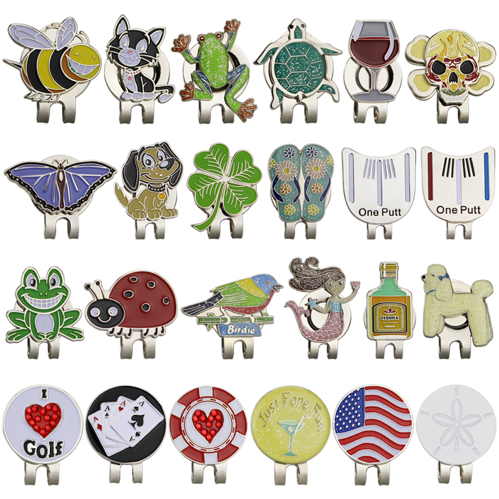 GOG Golf Marker Golf Cap Clip with Magnetic Hat Clips Golf Training Accessories Multi Colors Animal cup and flag slippers 1