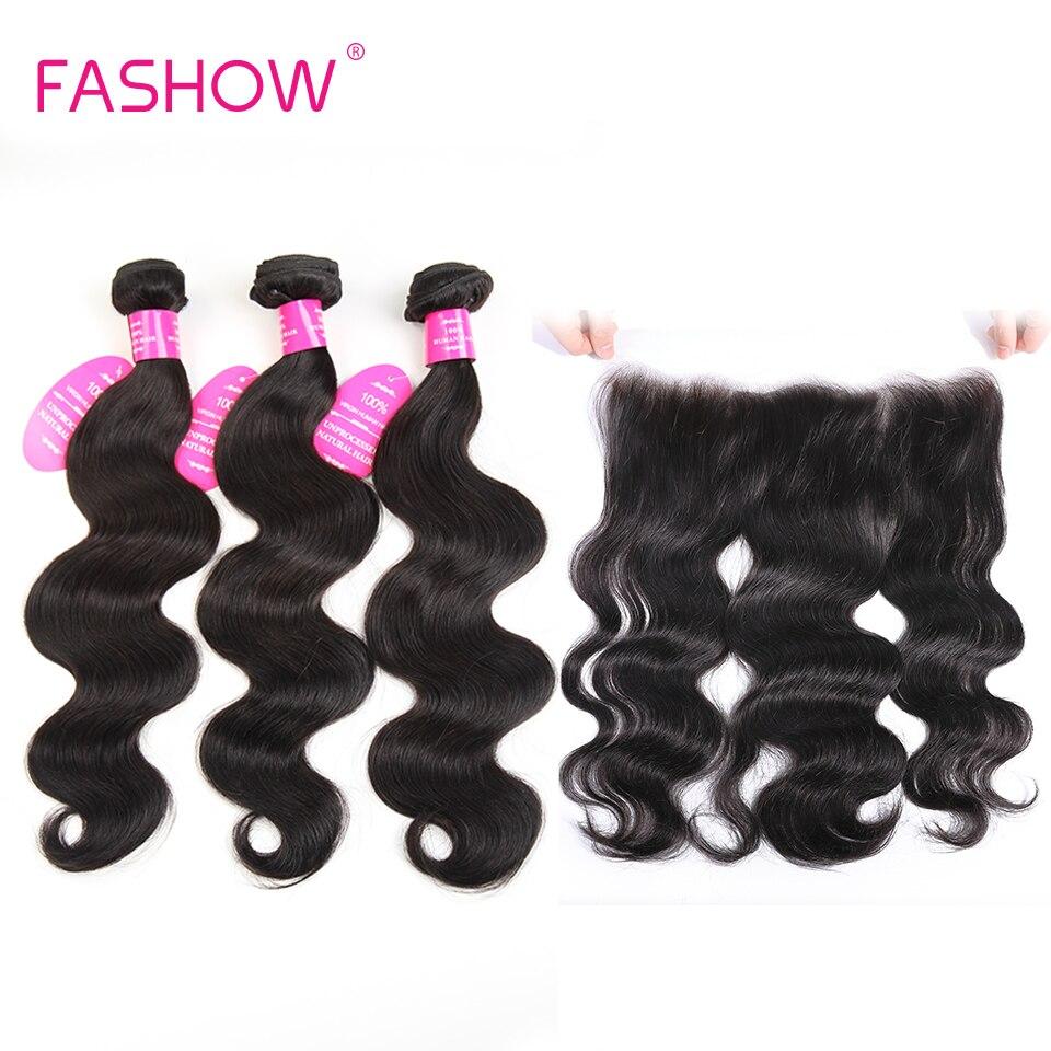 Mèches brésiliennes Non Remy avec Frontal-Fashow, cheveux naturels Lace Frontal Closure, Body Wave, lots de 3