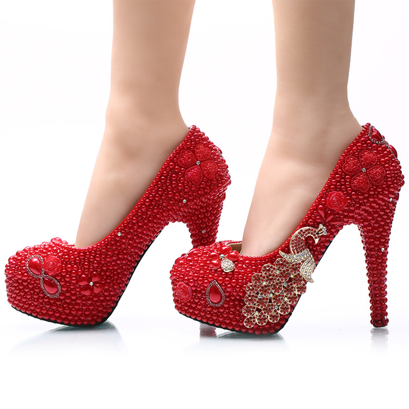 Cérémonie À 11cm red De Taille Bal Adulte Talons Heels Red Grande Magnifique Chaussures 5cm Et Hauts Pompes Robe Phoenix Mariée Heels 14cm Rouge Perle 45 Mariage 8cm AaqCqwg8