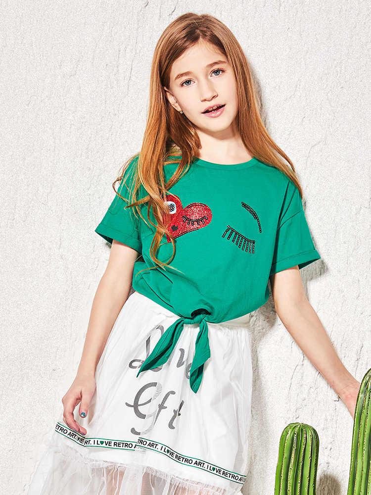 Balabala الساخن بيع الفتيات طفل تي شيرت 2019 جودة عالية الأزياء قميص للأولاد جميل عارضة س الرقبة قصيرة الأكمام 100% القطن الاطفال