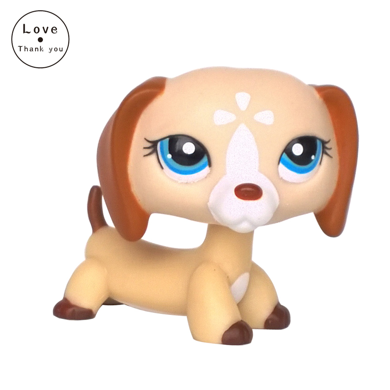 LPS DACHSHUND #1491 white sausage dog with blue eyes