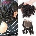 Aunty Fumni Bouncy Curls Brazilian Bundles With Lace Closure 8A short Bob Virgin Fumi Hair Bundles Nigerian weaves Spiral Curl