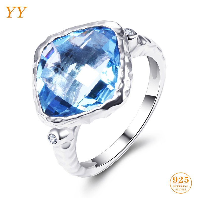 YY Fine Jewelry 925 Sterling Silver Shining Boutique Aquamarine Ocean Blue Vintage Trendy Fashion woman girl Party Gift Ring qq yy