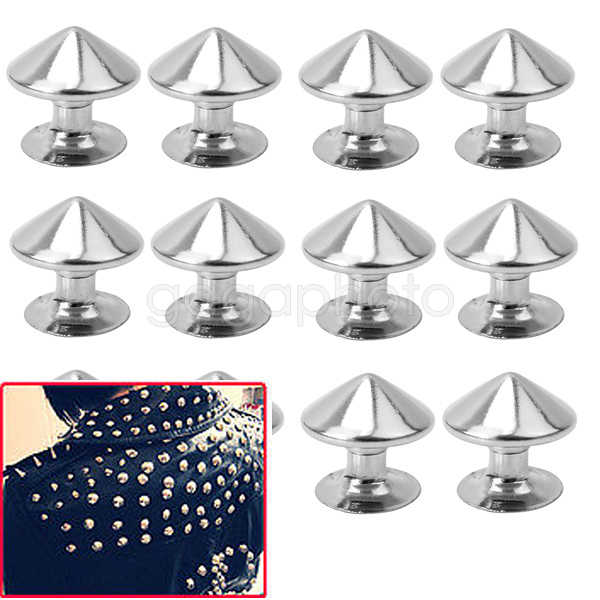 Hot 100x Silver Studs Rivets Punk Rock DIY Leathercraft Clothes Shoes Accessory
