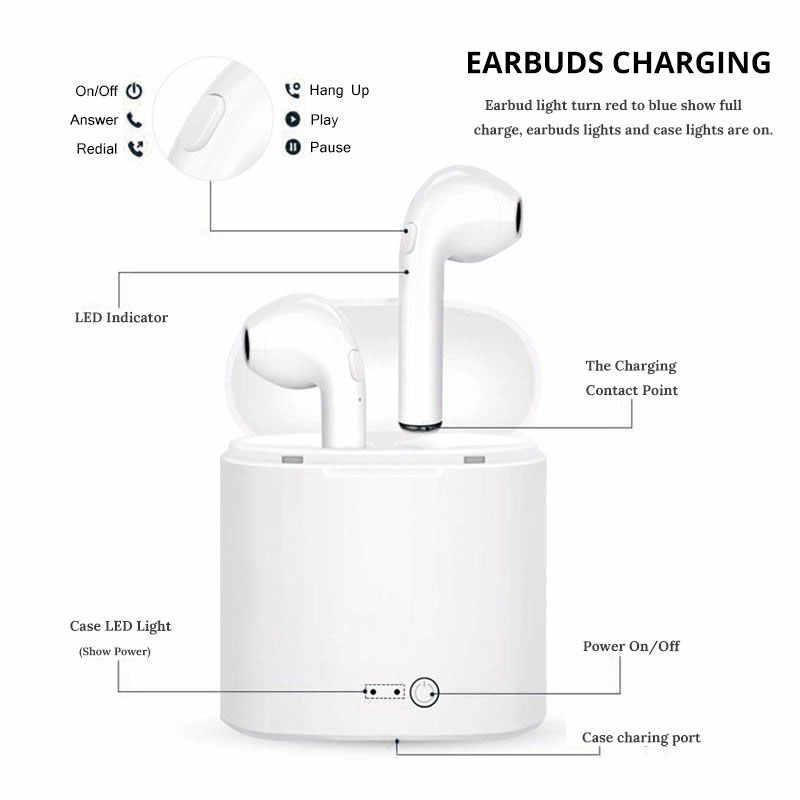 Słuchawki bezprzewodowe Bluetooth słuchawki słuchawki i7S tws stereo sportowe słuchawki douszne basowe nie i8x i9s i10 i11 i12 i20 i16 do Samsung