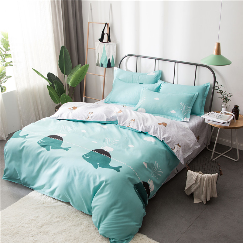 Nordic Style Kids Bedding Set 4pcs With Duvet Cover Bed Sheet Pillowcase Cotton Children Bed Linen Set King Queen Full Twin Size