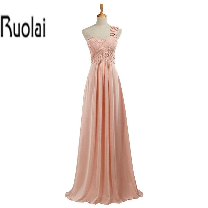 New Real Sample Ruffles Chiffon A Line One Shoulder Floor Length Formal Long   Bridesmaid     Dresses   Maid Of Honor   Dress