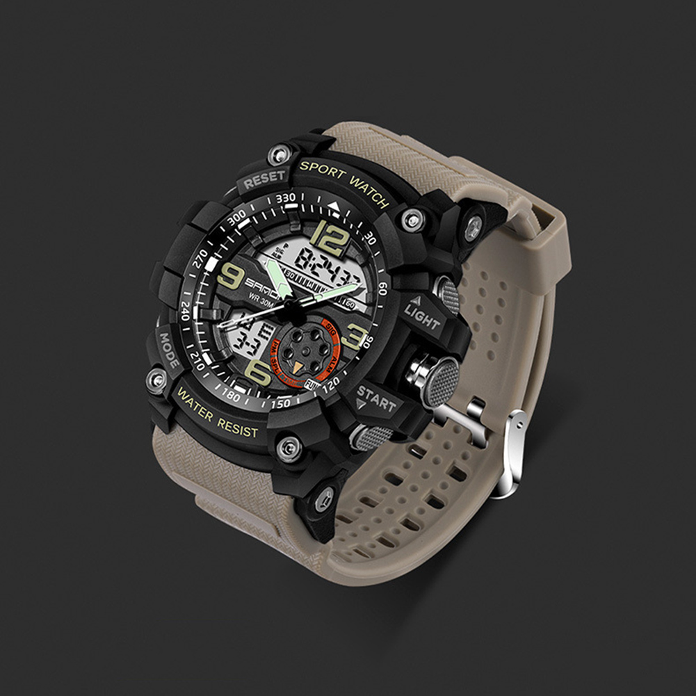 Digital Analog Dual Time Sport Watch Zones Calendar Chronograph Military Resin Wrist Watch Men 45