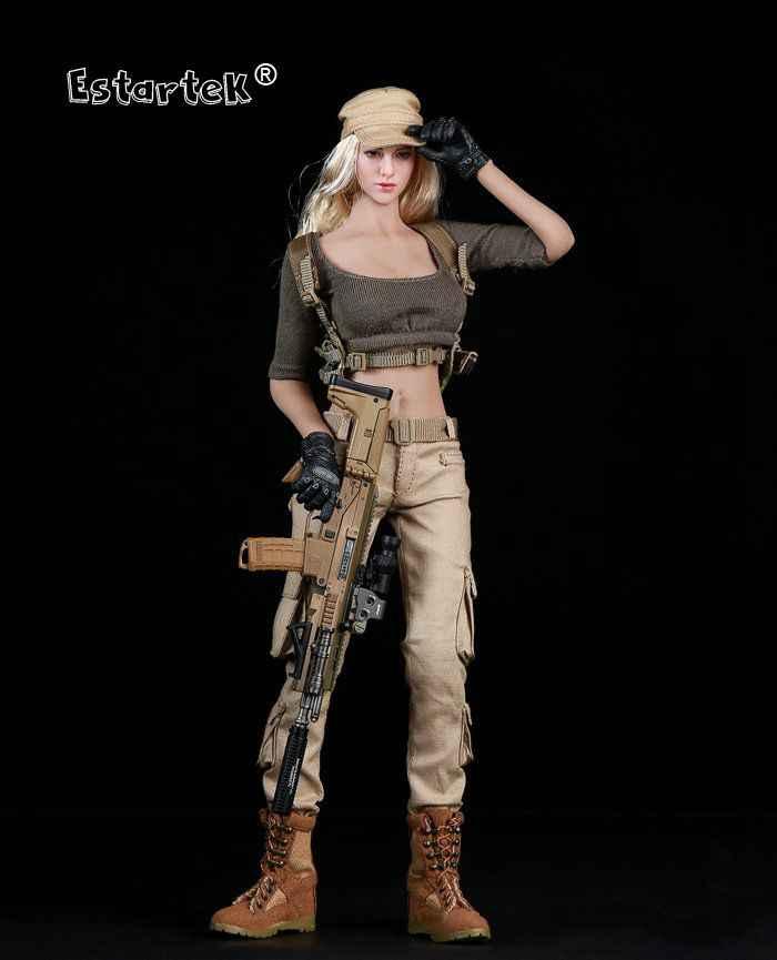 Estartek Fire Girl FG010 1/6 Женская шутер одежда костюм армейский зеленый черный Версия для