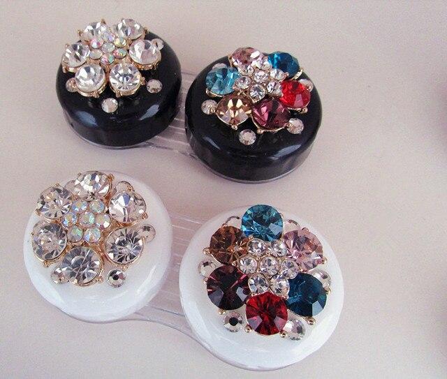 Liusventina DIY сплава алмазов цветок двойной американо-ученик коробка для хранения контактные линзы чехол для глаз контактные линзы коробка для очков