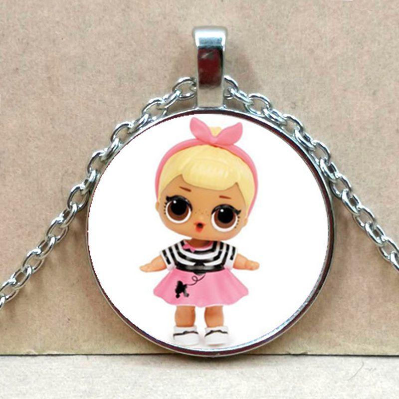 Мультяшное ожерелье с изображением куклы милое детское блестящее платье принцессы куклы стеклянные ожерелья аниме для детей подарок на день рождения - Окраска металла: Silver 5
