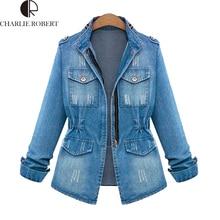 Jeans Jacket Women European American Vintage Washed Zippers Long Sleeve Denim Coats Slim Waist Body Fashion Female Casaco