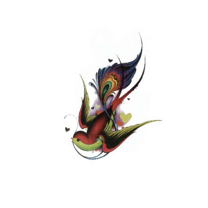 Vendita 1PC 2019 Nuovo Uccello Del Fiore di farfalla Donne Degli Uomini di Modo Autoadesivo Del Tatuaggio Temporaneo Ragazze di Arte di Corpo Impermeabile Adesivo Braccio