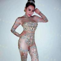Bars Singers Rhinestone Bodysuit Strass Leotard Models Show Stage Jumpsuit Female gogo Rompers Celebrate Women Birthday Outfits