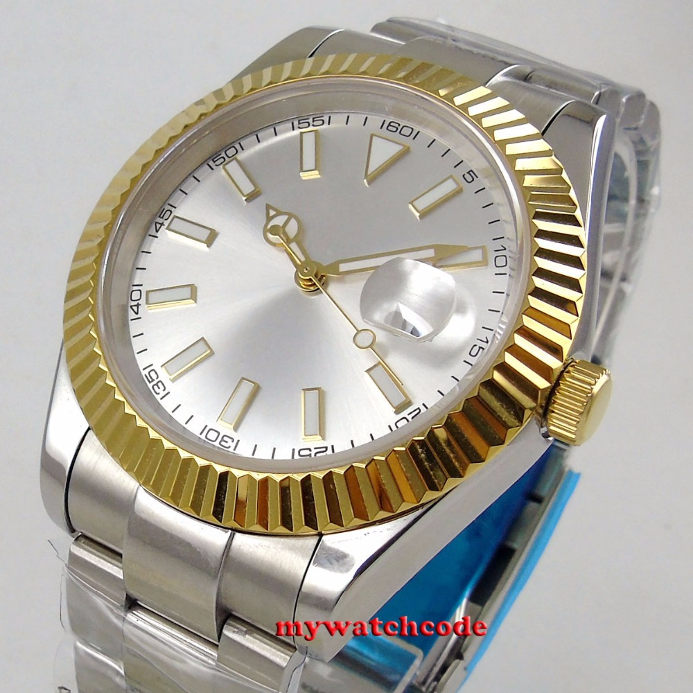 40mm parnis silver dial sapphire glass golden case 316L SS automatic mens watch Luxury Brand Top Mechanical Watches