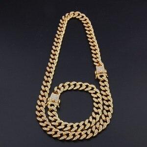 Image 3 - Uwin ensemble collier et Bracelet cubains, Miami, 13mm, avec strass glacés, bijoux hip hop, Bling, Bling, pour hommes