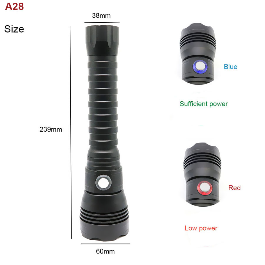 LED Diving Flashlight Torch CREE XHP70.2 LED 4000 Lumens Waterproof 100m Led Tactics Flashlights With 18650  For Divers