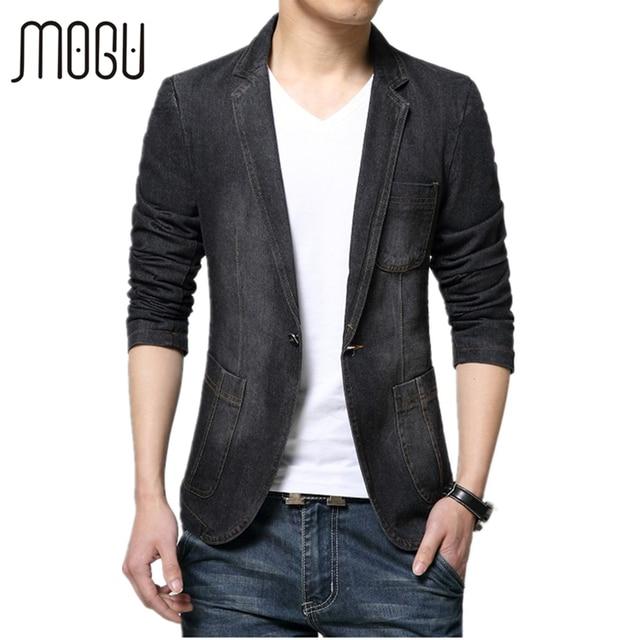 0b9bc6843fc0e Mogu giacca da uomo nuovo arrivo 2017 molla denim blazer moda jean cappotto  per uomo casual