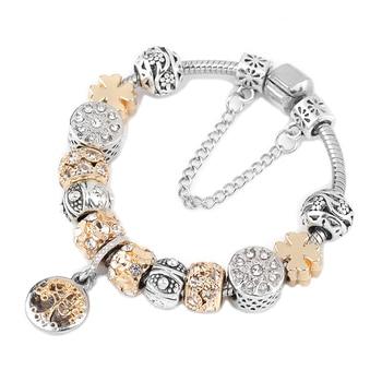 Tree of life Pendant & Gold Crystal Ball Pandora Bracelet