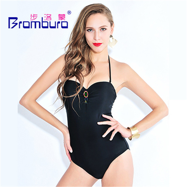 af5911ce22d36 Lure Bandage Black Solid Monokini Women Sexy One Piece Swimsuit String  Backless Halter Swimwear Decoration Jumpsuit Bathing Suit